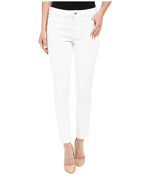 Liverpool Penny Lightweight Ankle Jeans w/ Destruction in Bright White