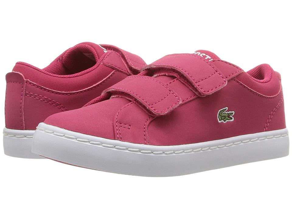 Lacoste Kids Straightset Lace 316 3 SPI (Toddler/Little Kid) (Dark Pink) Girl