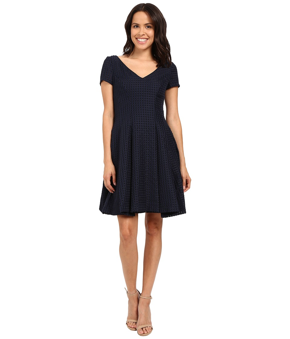 NUE by Shani Fit Flare V Neck Novelty Woven Dress Navy Womens Dress