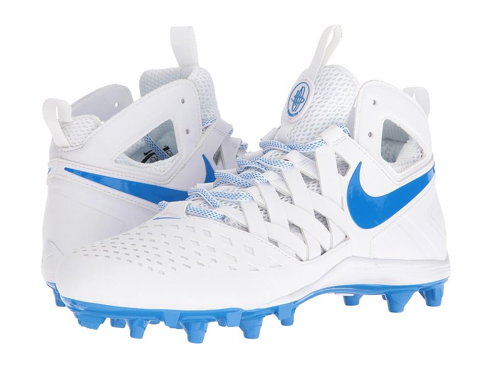 Nike - Huarache V Lax (White/Photo Blue) Mens Cleated Shoes