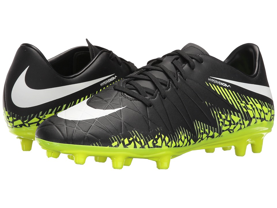 Nike - Hypervenom Phelon II FG (Black/White/Volt/Paramount Blue) Mens Soccer Shoes