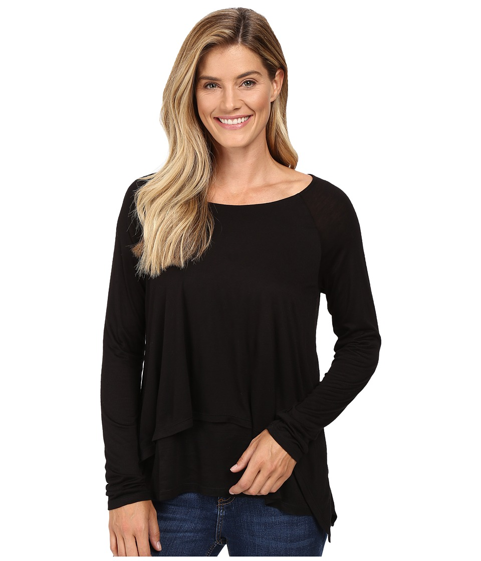 Image of B Collection by Bobeau - Ada Layered Knit Top (Black) Women's Long Sleeve Pullover