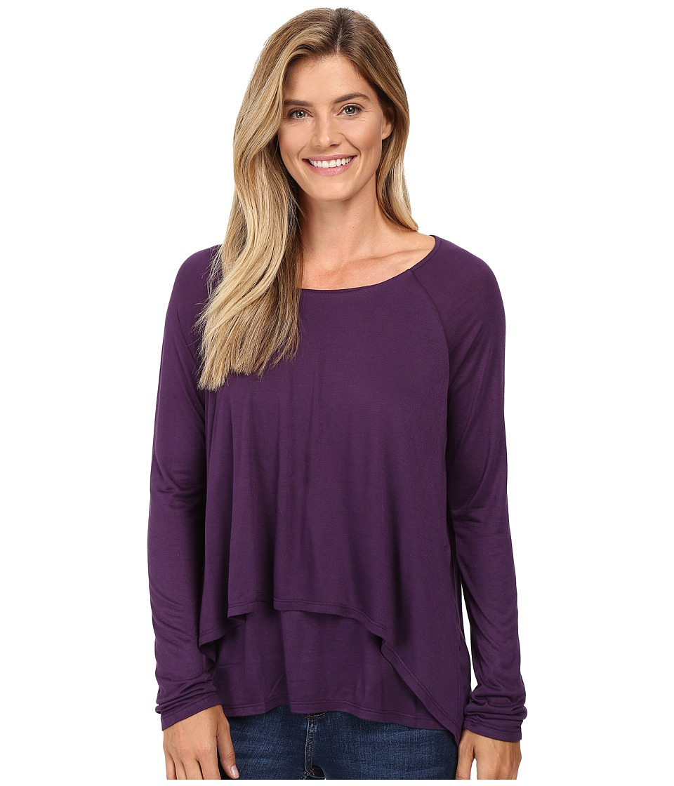 Image of B Collection by Bobeau - Ada Layered Knit Top (Eggplant) Women's Long Sleeve Pullover