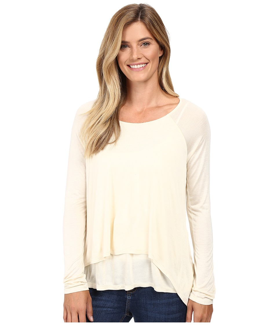 Image of B Collection by Bobeau - Ada Layered Knit Top (Ivory) Women's Long Sleeve Pullover