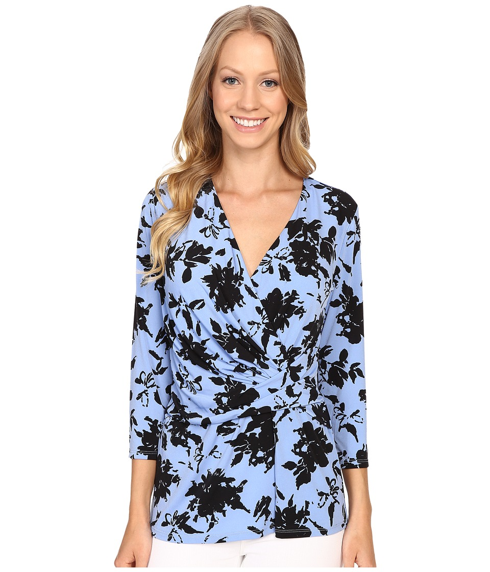 Ellen Tracy 3/4 Sleeve Twist Top Lively Floral Womens Blouse