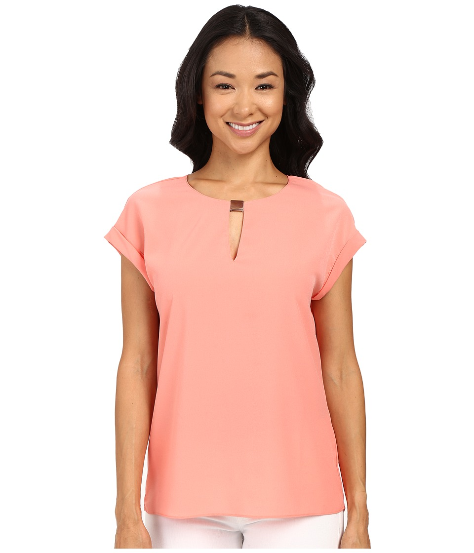 Ellen Tracy Hardware Keyhole Shell Top Coral Rose Womens Clothing