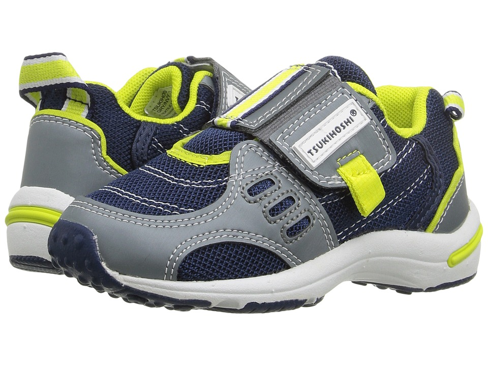 Tsukihoshi Kids - Euro (Toddler/Little Kid) (Gray/Navy) Boys Shoes