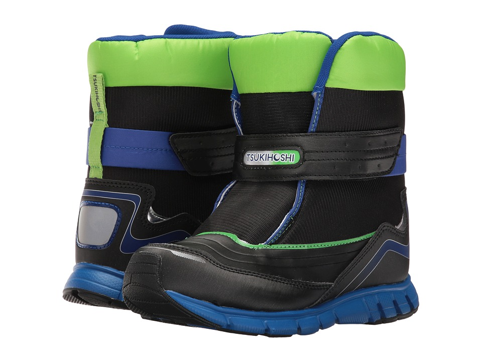 Tsukihoshi Kids Frost (Little Kid/Big Kid) (Black/Green) Boys Shoes