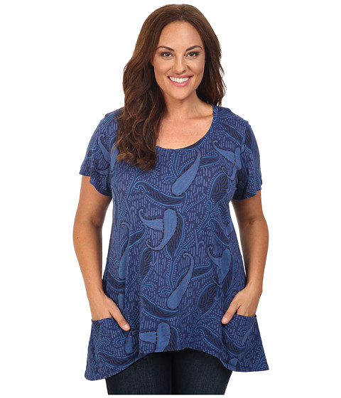 Fresh Produce - Plus Size Paisley Twin Peaks Top (Moonlight Blue) Women's Clothing