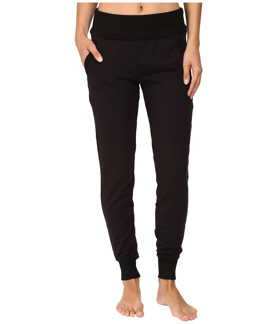 Beyond Yoga - Fleece Fold-Over Sweatpants (Black) Womens Workout