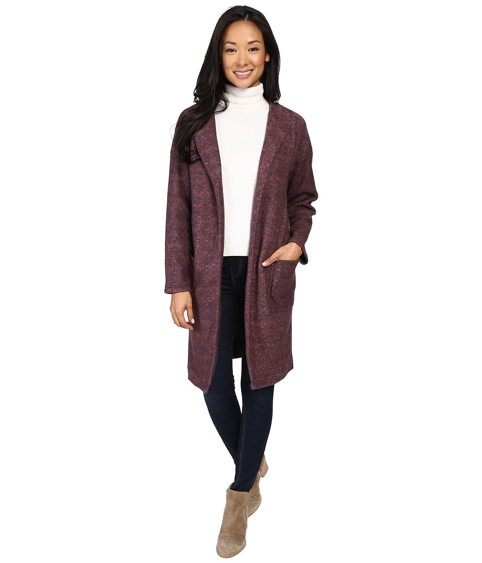 B Collection by Bobeau Rowen Brushed Fleece Jacket (Burgundy) Women