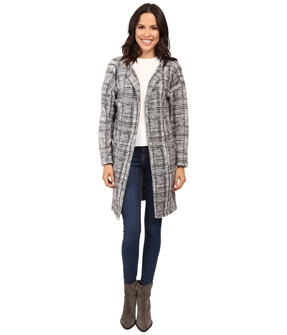 B Collection by Bobeau Rowen Brushed Fleece Jacket (Black/White Plaid) Women