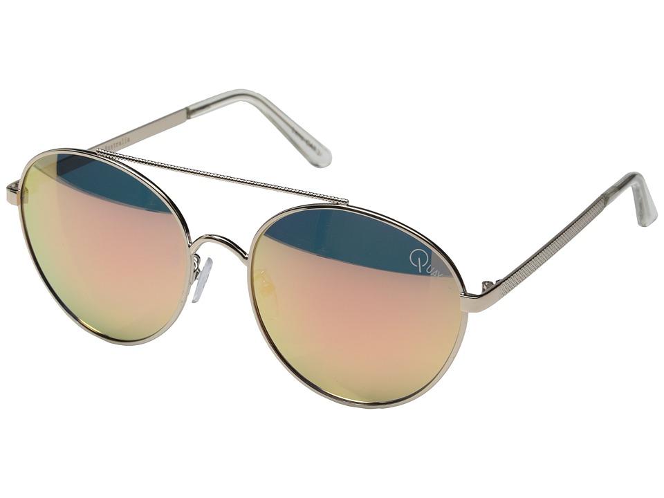 QUAY AUSTRALIA Circus Life Gold/Pink Mirror Fashion Sunglasses