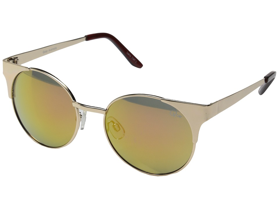 QUAY AUSTRALIA Asha Gold/Pink Mirror Fashion Sunglasses
