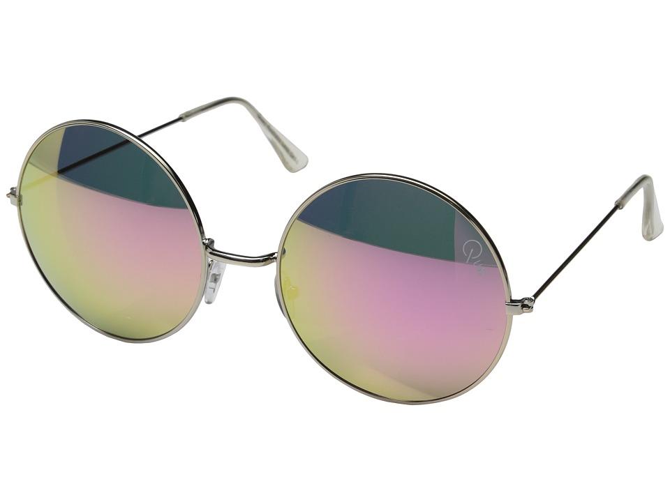QUAY AUSTRALIA Dynasty Silver/Pink Mirror Fashion Sunglasses