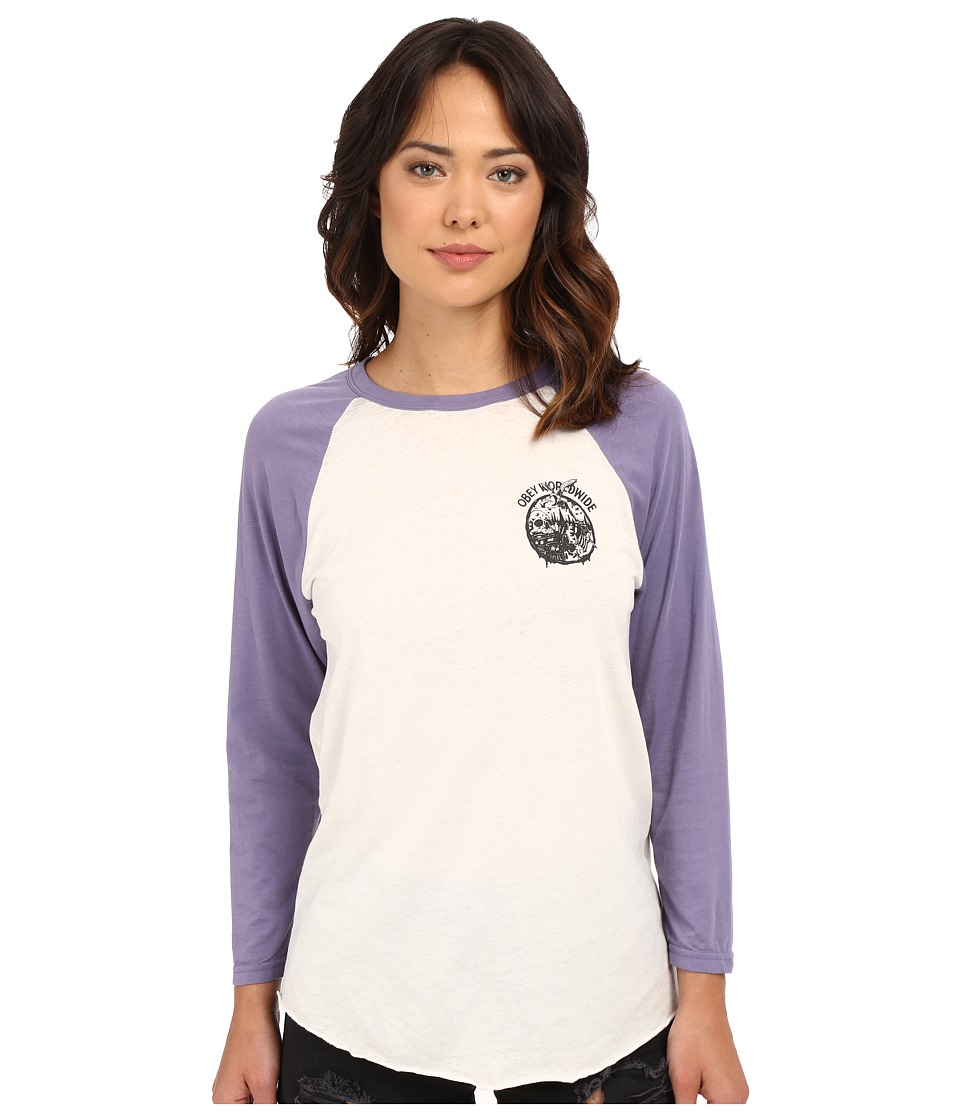 Obey - Paint Spill Tee (Creme/Blue Violet) Women