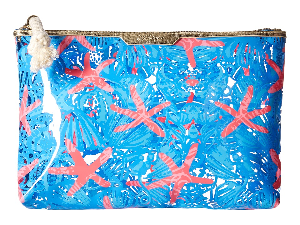 Lilly Pulitzer - Clear Water Pouch (Bay Blue She She Shells) Travel Pouch