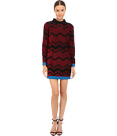 M Missoni - Bicolor Mesh Long Sleeve Zigzag Dress