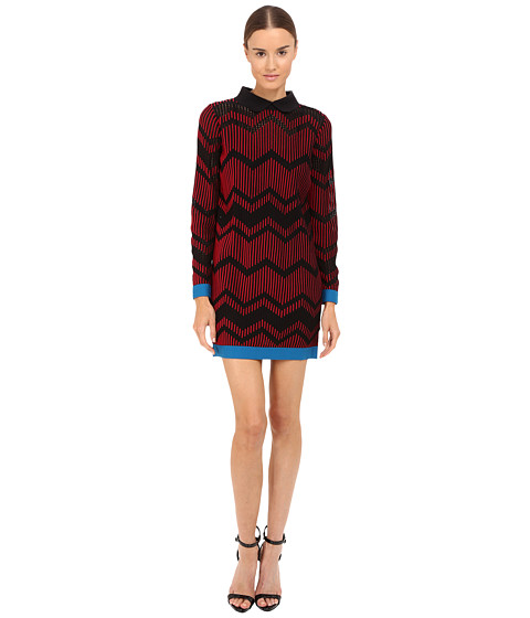 M Missoni Bicolor Mesh Long Sleeve Zigzag Dress