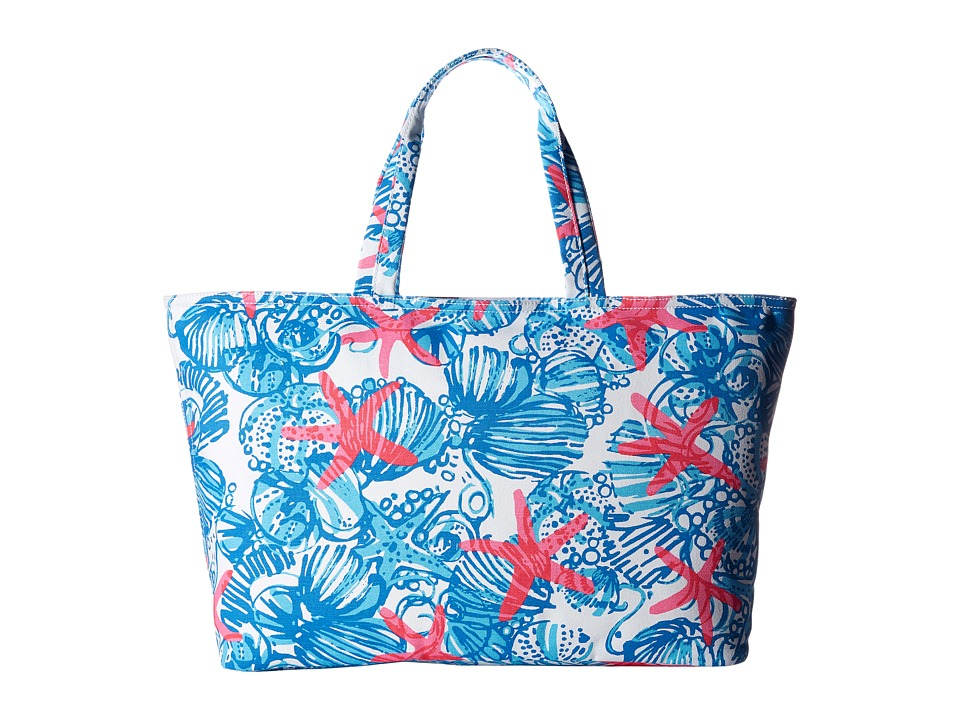 Lilly Pulitzer - Large Palm Beach Tote (Bay Blue She She Shells) Tote Handbags