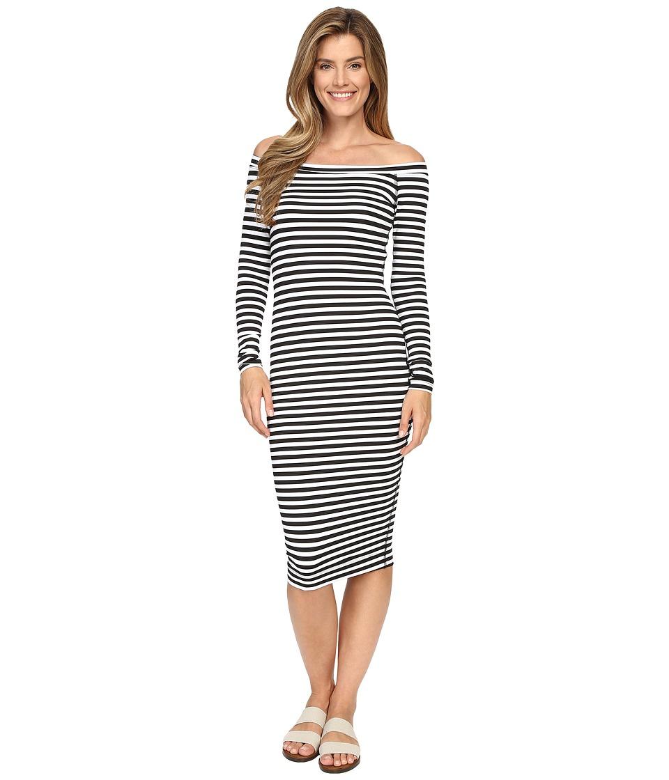 Hard Tail Off Shoulder Dress (Black/White Supplex Stripe) Women