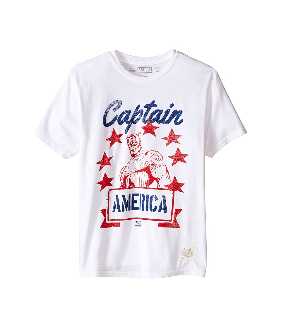 The Original Retro Brand Kids Captain America Short Sleeve Vintage Cotton Tee Little Kids/Big Kids White Boys T Shirt
