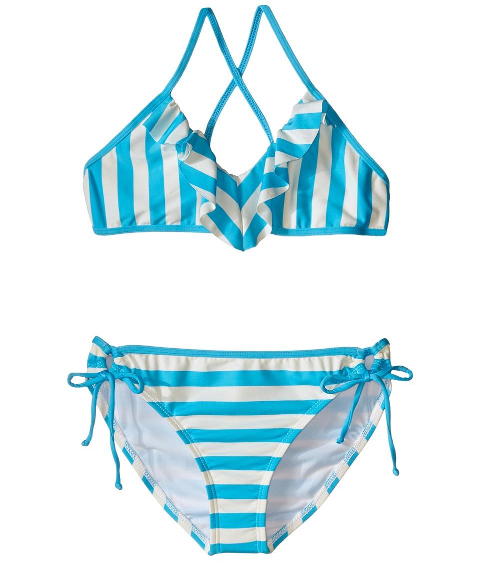 Ella Moss Girl Cabana Crop Top and Tunnel Pants Big Kids Aqua Girls Swimwear Sets