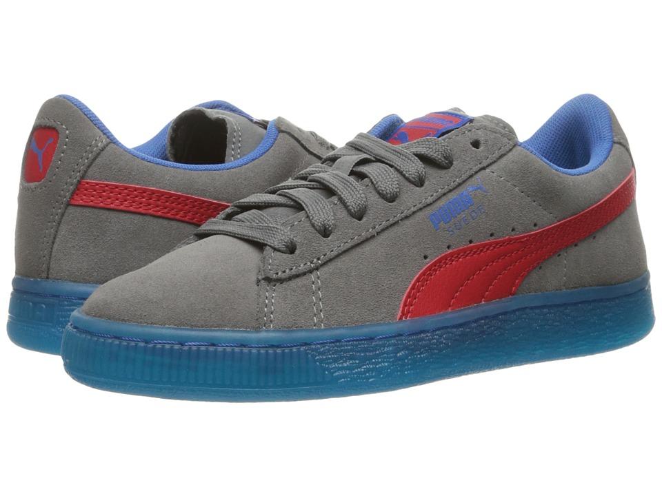 Puma Kids - Suede LFS Iced (Big Kid) (Steel Gray/High Risk Red/Puma Royal) Boys Shoes