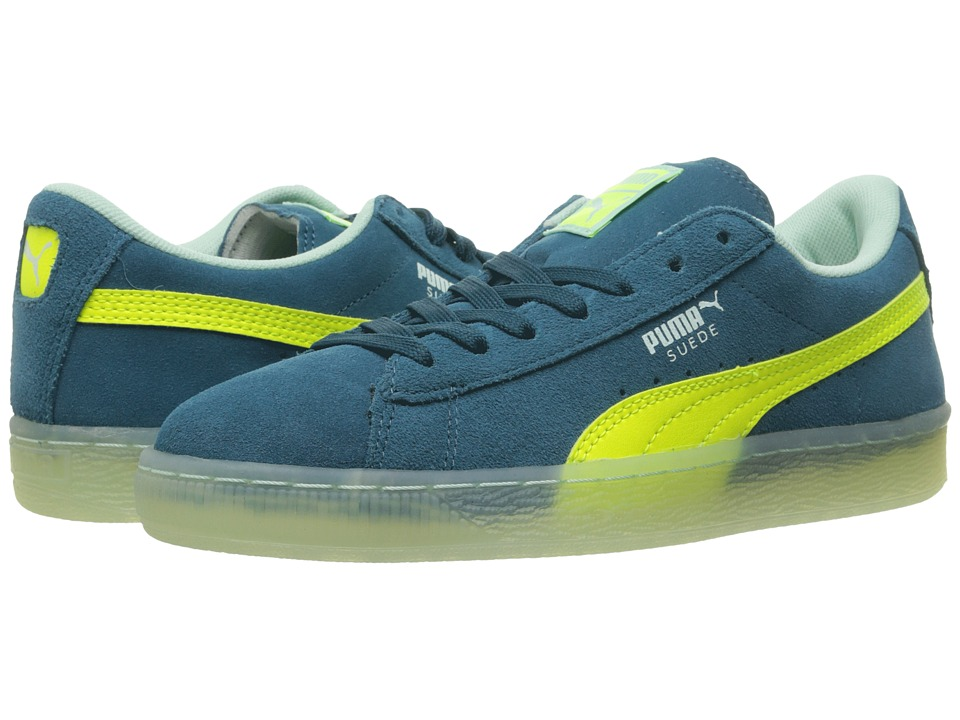 Puma Kids - Suede LFS Iced (Big Kid) (Blue Coral/Safety Yellow/Bay) Boys Shoes