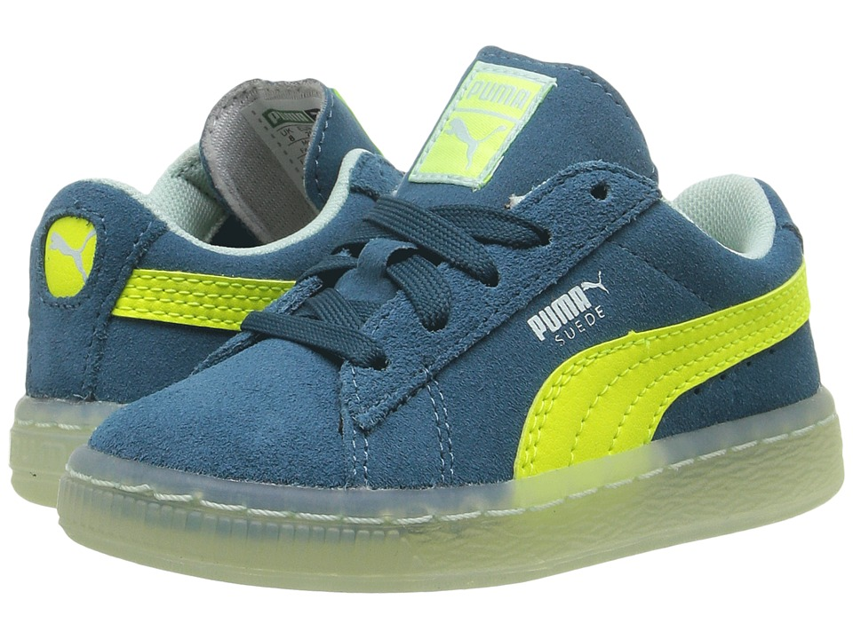 Puma Kids - Suede LFS Iced (Toddler) (Blue Coral/Safety Yellow/Bay) Boys Shoes