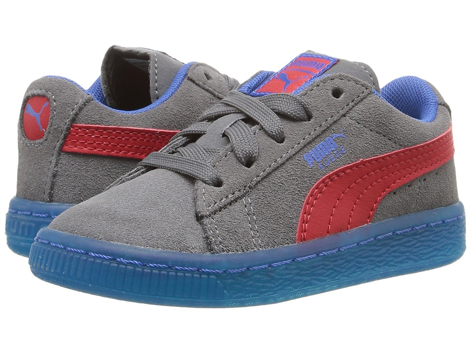 Puma Kids - Suede LFS Iced (Toddler) (Steel Gray/High Risk Red/Puma Royal) Boys Shoes