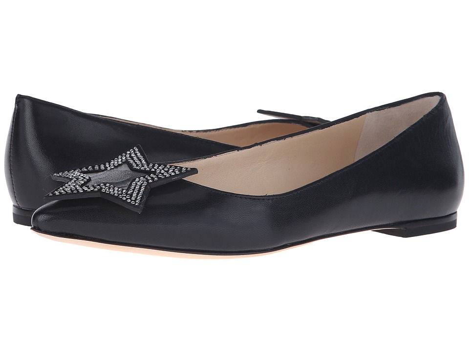 Isa Tapia Hannah Black Kid Womens Dress Flat Shoes