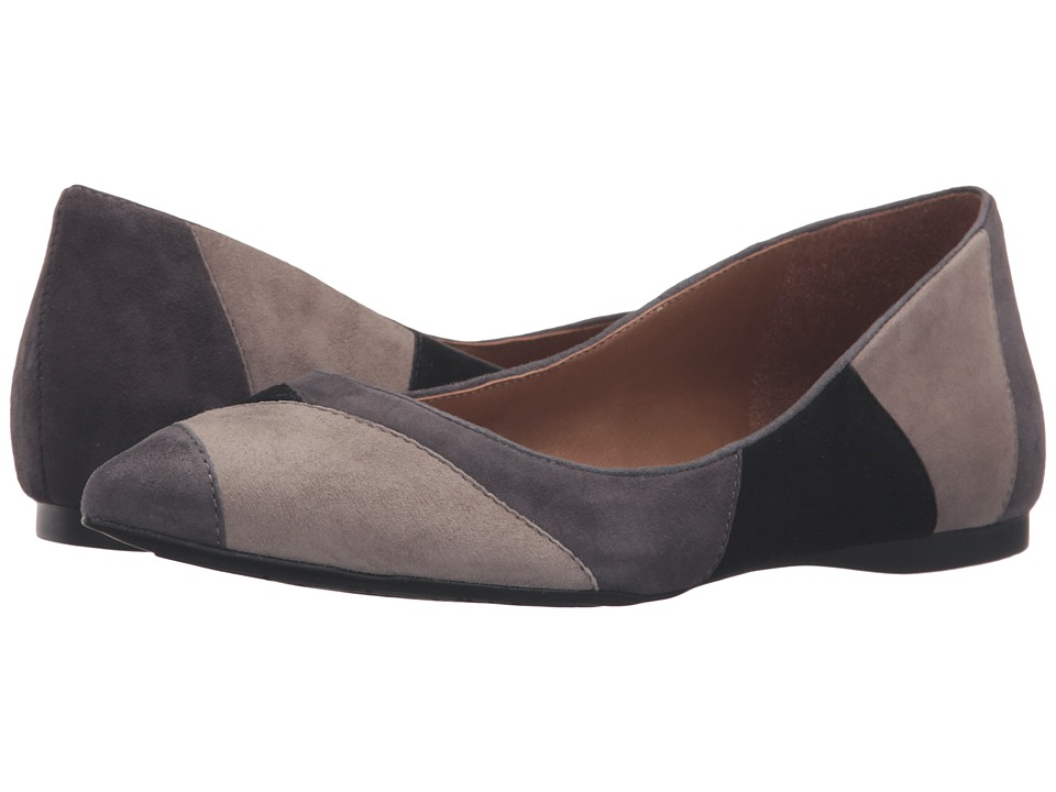 French Sole Star (Grey/Taupe/Black Suede) Women's Dress Flat Shoes