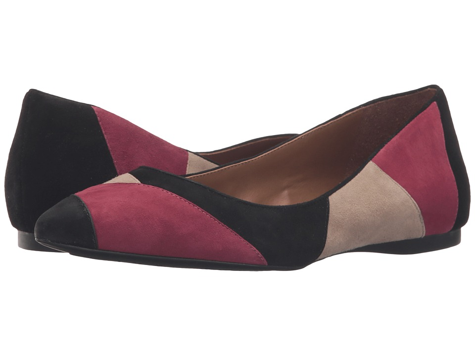 French Sole Star (Burgundy/Taupe/Black Suede) Women's Dress Flat Shoes