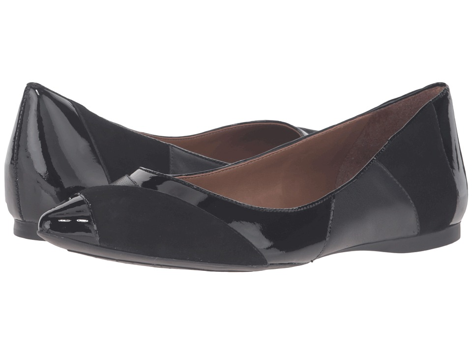 French Sole Star (Black Suede/Patent) Women's Dress Flat Shoes
