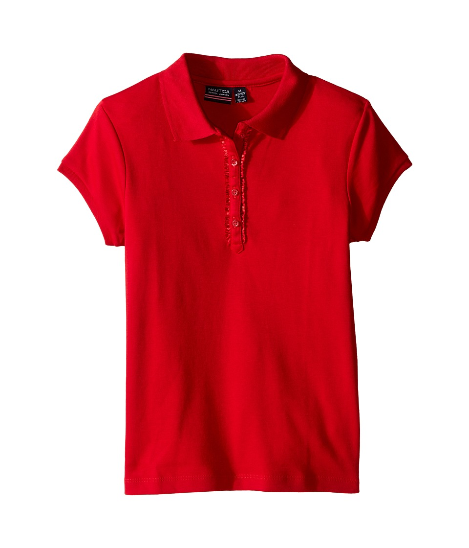 Nautica Kids - Girls Plus Short Sleeve Polo with Ruffle Placket