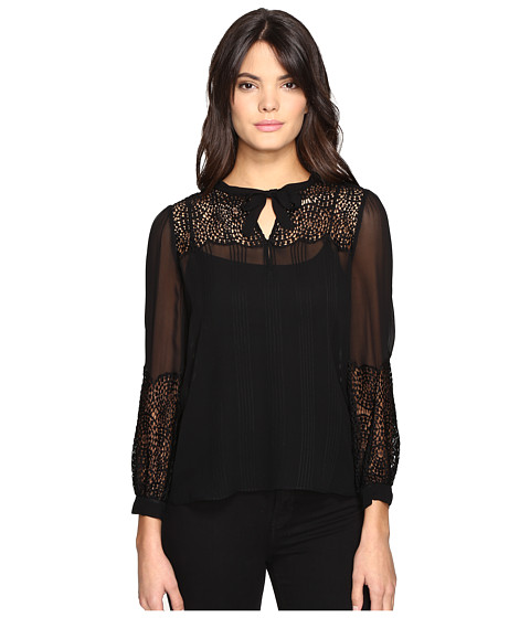 Rebecca Taylor Chiffon Top with Lace
