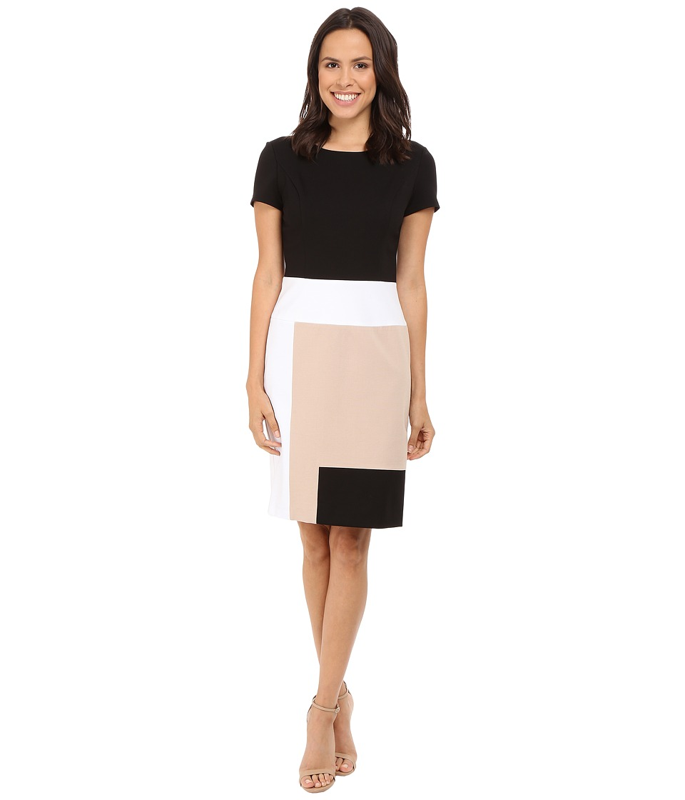 NUE by Shani Color Blocking Knit Dress Black/Nude Womens Dress