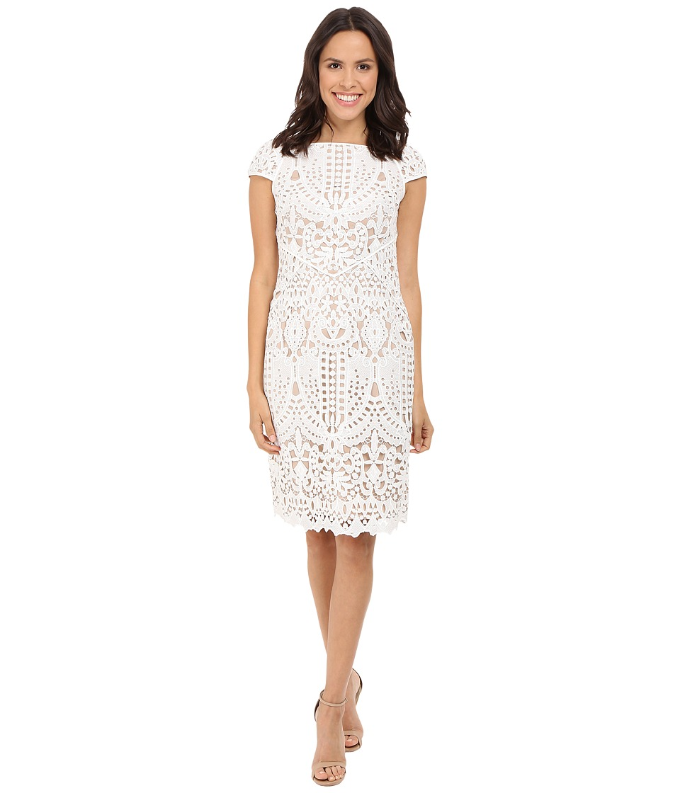 NUE by Shani Embroidered Lace Dress w/ Piping Detail White/Nude Womens Dress