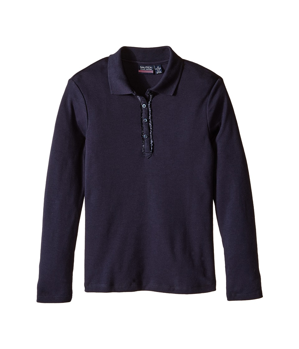 Nautica Kids - Girls Plus Long Sleeve Polo with Ruffle Placket