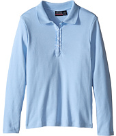 Nautica Kids - Girls Plus Long Sleeve Polo with Ruffle Placket (Big Kids)