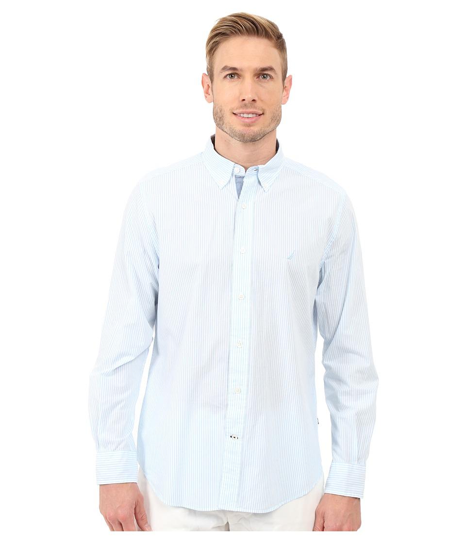 Nautica Long Sleeve Stripe Poplin Cool Breeze Mens Clothing