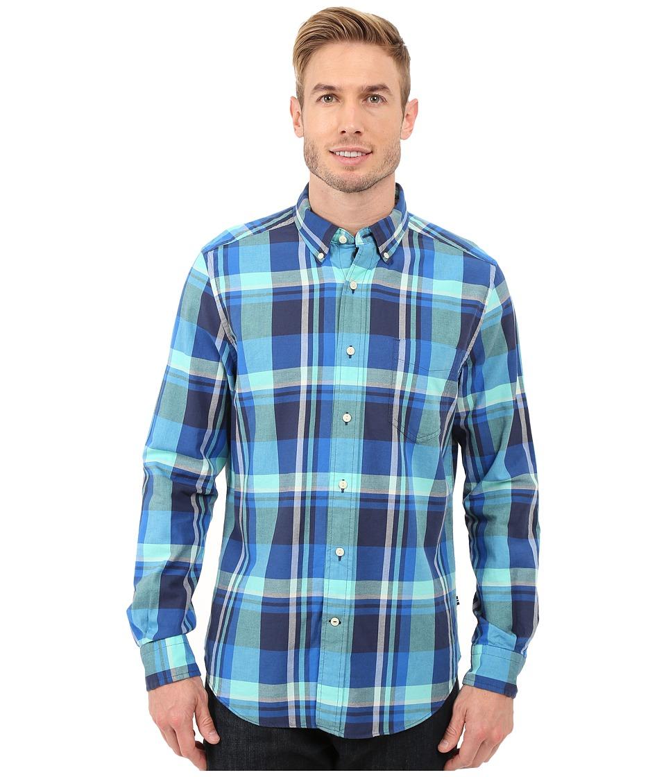 Nautica Long Sleeve Large Plaid Pocket Marine Blue Mens Clothing