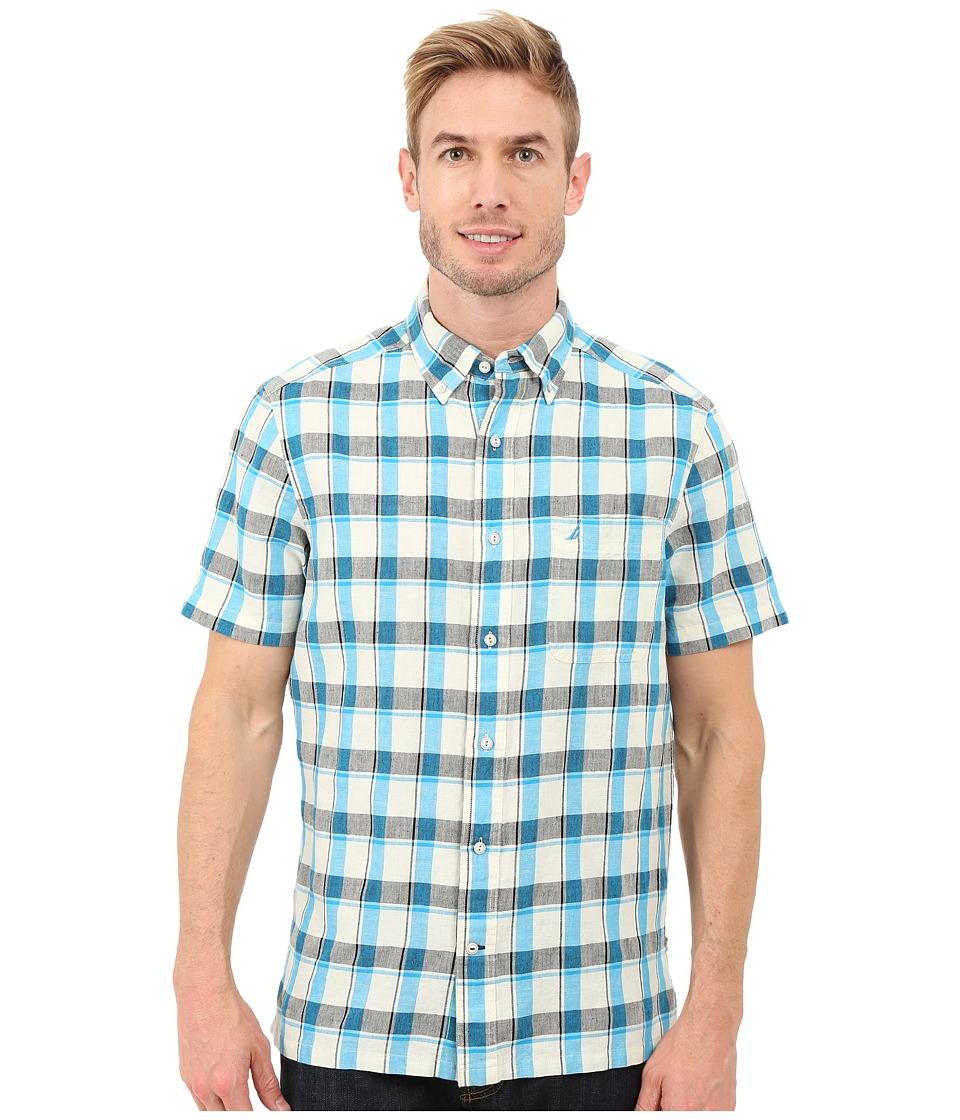 Nautica Short Sleeve Yarn Dye Large Plaid Pocket Star Turquoise Mens Short Sleeve Button Up