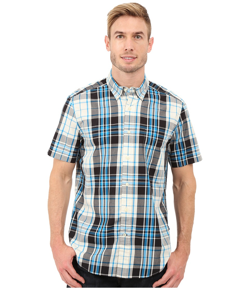 Nautica Short Sleeve Large Plaid Pocket True Black Mens Short Sleeve Button Up
