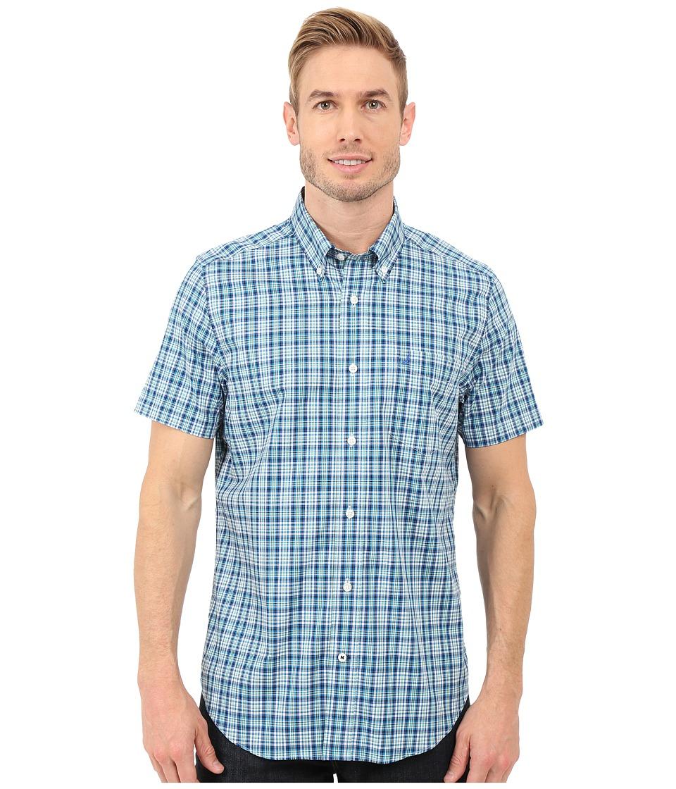 Nautica Short Sleeve Wrinkle Plaid Pocket Star Turquoise Mens Clothing