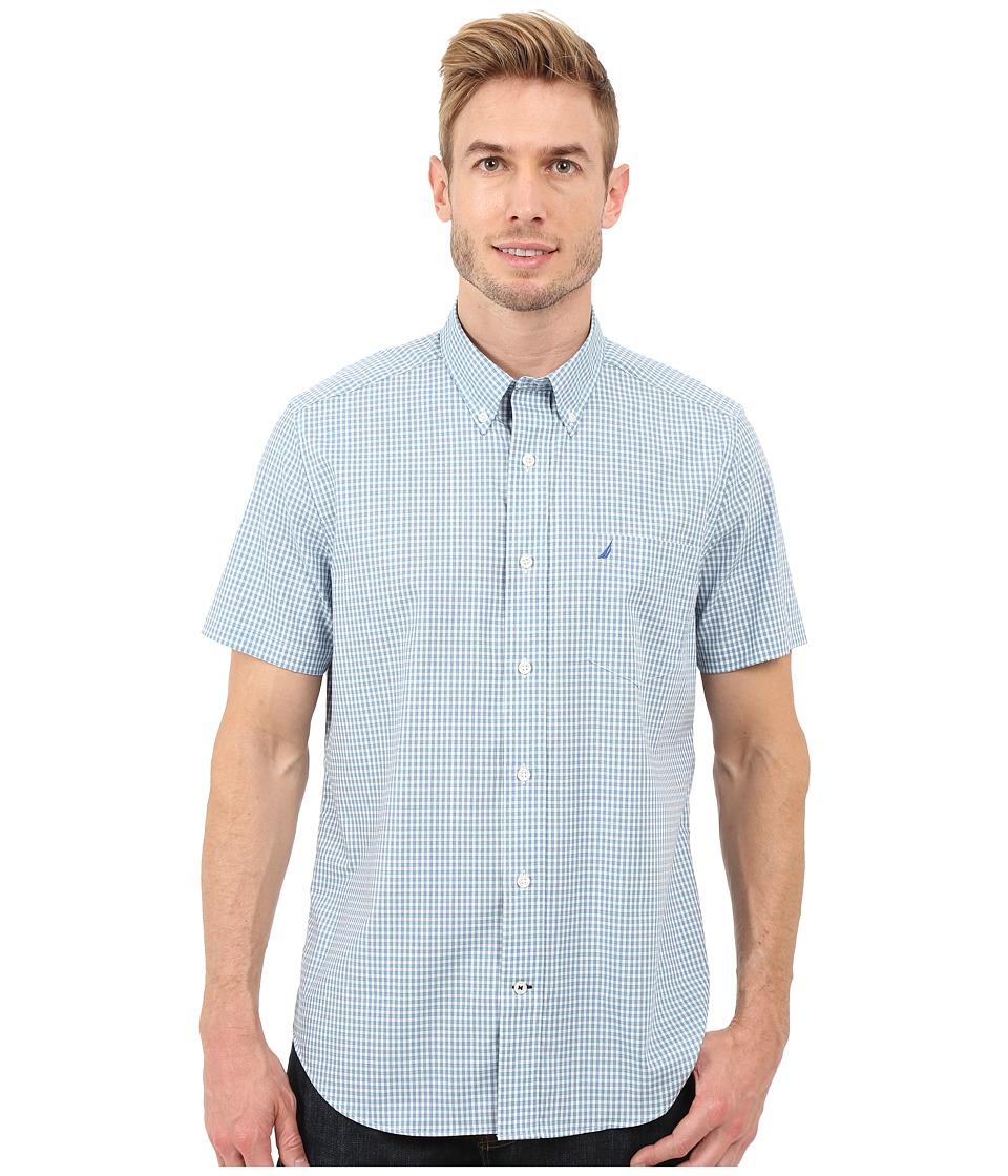 Nautica Short Sleeve Wrinkle Mini Check Pocket Sea Cobalt Mens Short Sleeve Button Up