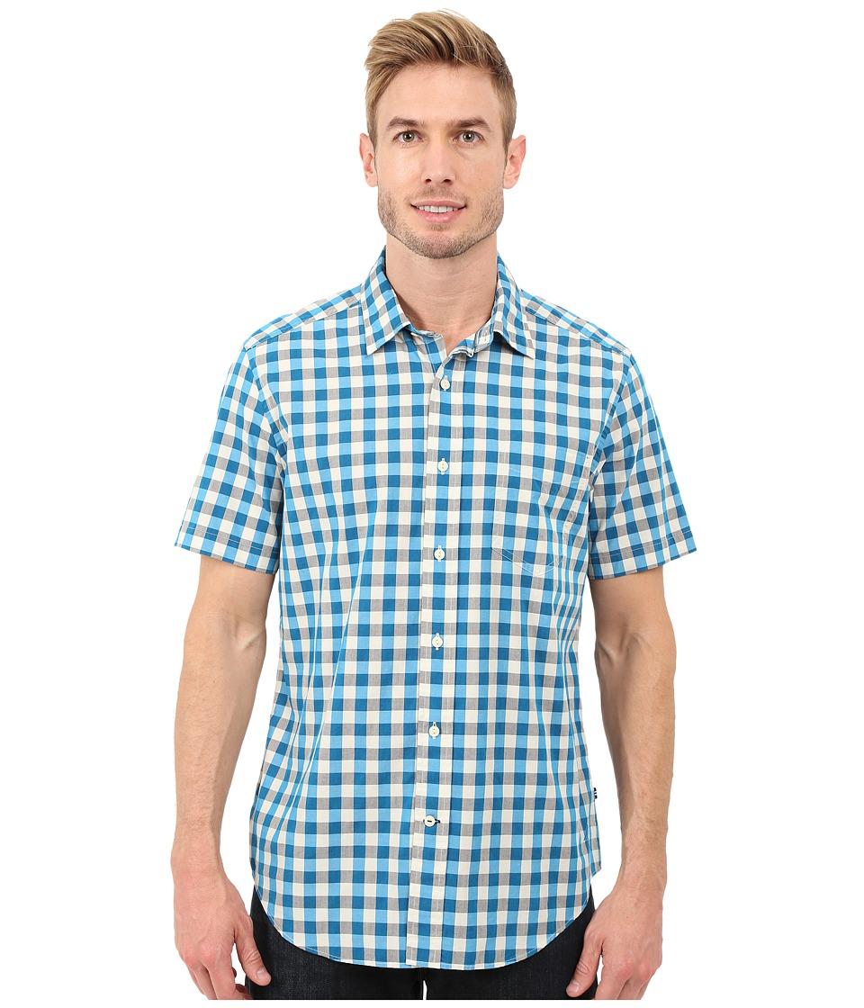 Nautica Short Sleeve Plaid Pocket Star Turquoise Mens Short Sleeve Button Up