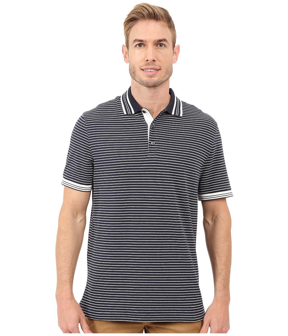 Nautica Short Sleeve Yarn Dye Striped Polo True Navy Mens Short Sleeve Knit