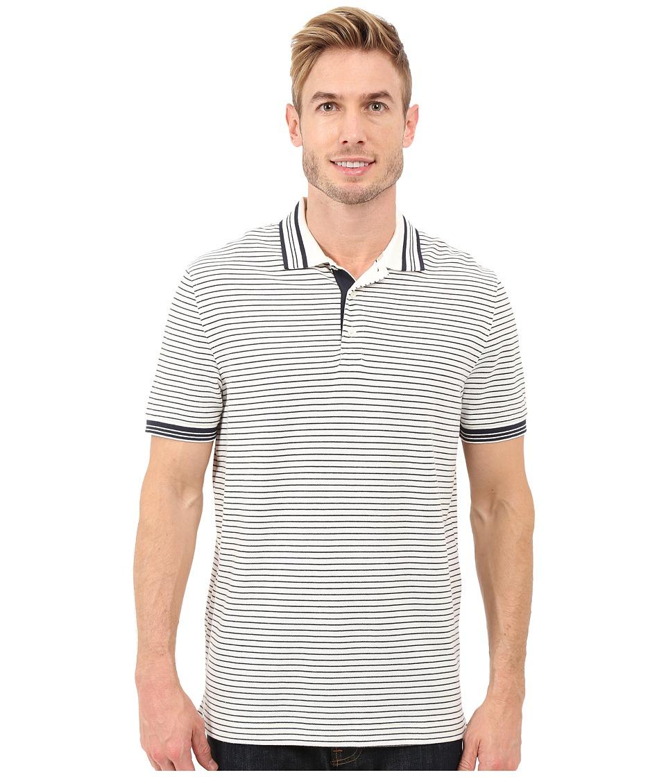 Nautica Short Sleeve Yarn Dye Striped Polo Marshmallow Mens Short Sleeve Knit